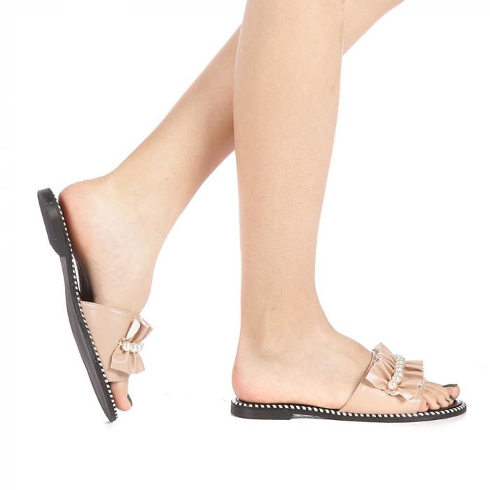 Papuci dama Milios bej 0