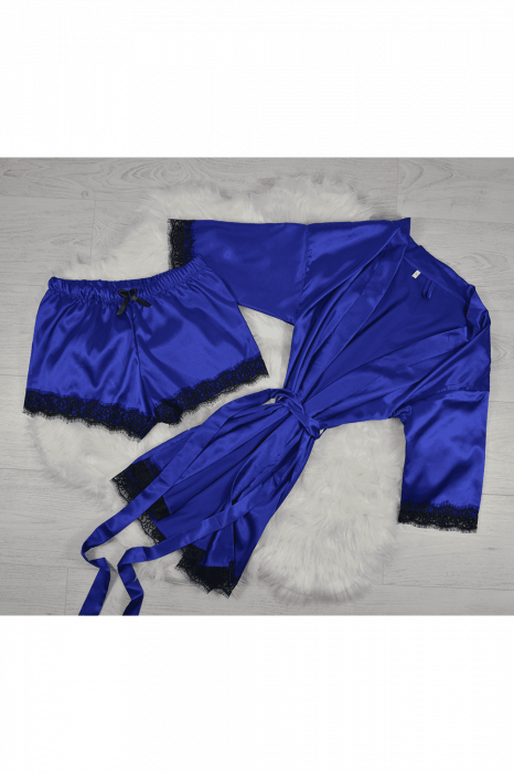Pijama albastra din satin cu dantela set 5 piese [0]