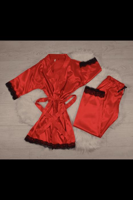 Pijama rosie din satin cu dantela set 5 piese 0