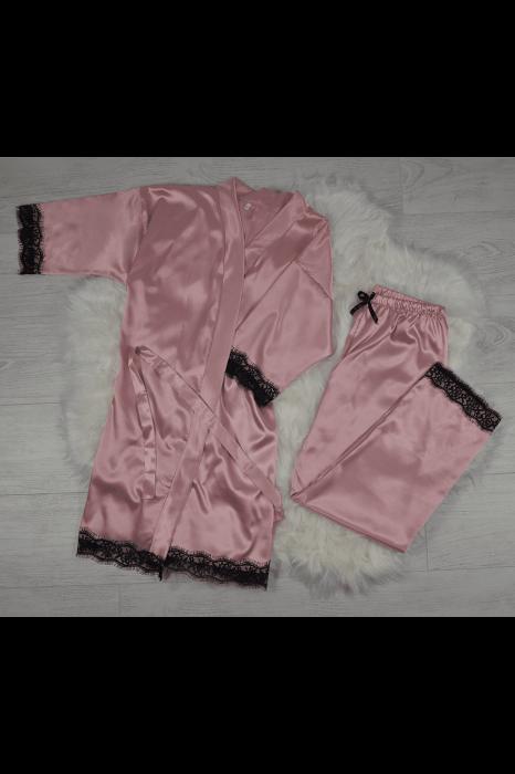 Pijama roz pudra din satin cu dantela set 5 piese 0