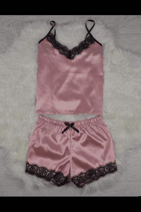 Pijama roz pudra din satin cu dantela set 5 piese 1