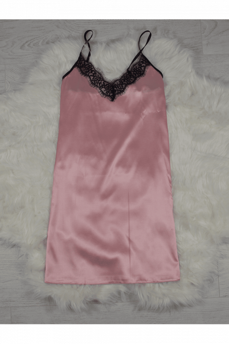 Pijama roz pudra din satin cu dantela set 5 piese 2