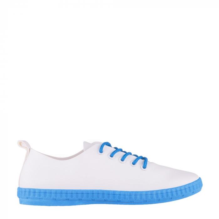 Tenisi dama Alva albi cu albastru royal 0