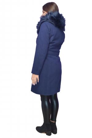 Palton bleumarin din stofa accesorizat cu cordon in talie si blanita2