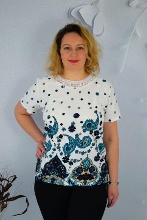 Bluza dama Caroli cu maneca scurta si imprimeu abstract0