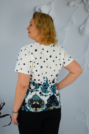 Bluza dama Caroli cu maneca scurta si imprimeu abstract1