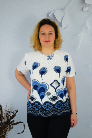 Bluza dama cu imprimeu pene fazan si broderie0