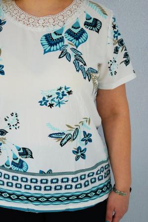 Bluza dama Daria cu maneca scurta si broderie cu margele la guler [2]