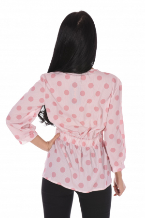 Camasa roz cu buline si cordon in talie1