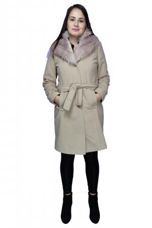 Palton bej din stofa accesorizat cu cordon in talie si blanita1
