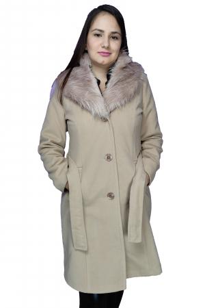 Palton bej din stofa accesorizat cu cordon in talie si blanita0