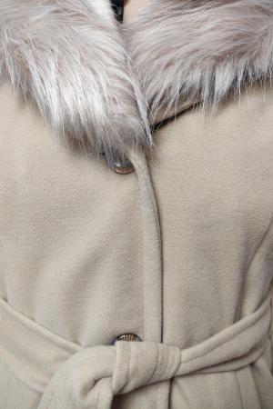Palton bej din stofa accesorizat cu cordon in talie si blanita3