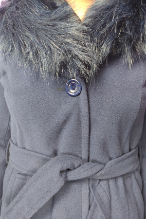 Palton bleumarin din stofa accesorizat cu cordon in talie si blanita3