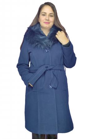 Palton bleumarin din stofa accesorizat cu cordon in talie si blanita