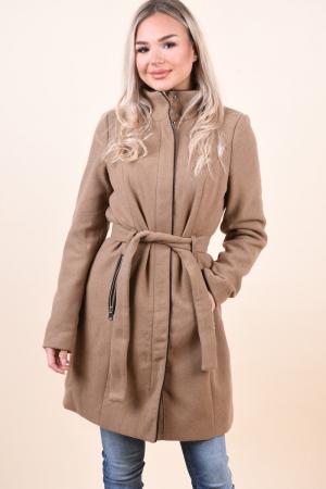 Palton dama Vero Moda maro cu guler inalt0