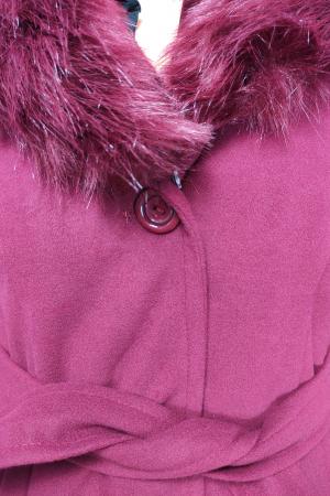 Palton grena din stofa accesorizat cu cordon in talie si blanita3