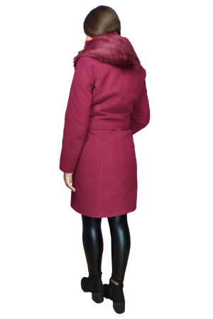 Palton grena din stofa accesorizat cu cordon in talie si blanita2
