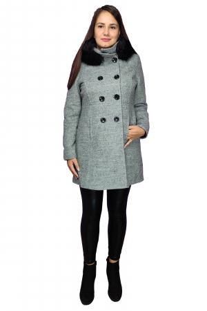 Palton gri din lana cu blana ecologica si guler inalt1