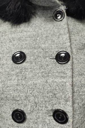 Palton gri din lana cu blana ecologica si guler inalt3