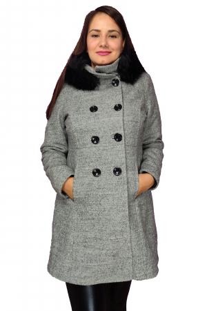 Palton gri din lana cu blana ecologica si guler inalt0