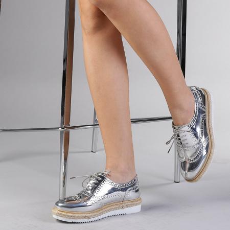 Pantofi casual dama Dina argintii2