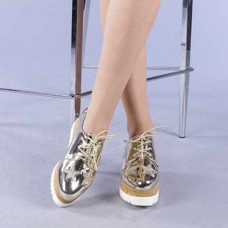 Pantofi casual dama Miriana aurii1
