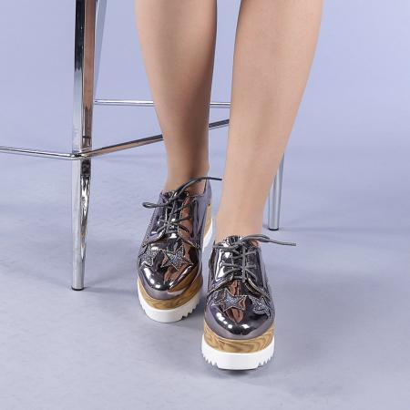 Pantofi casual dama Miriana gri1