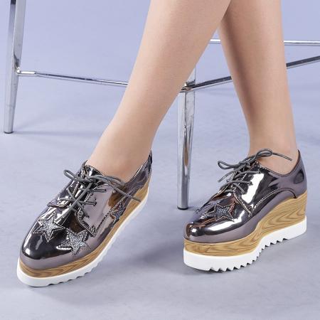 Pantofi casual dama Miriana gri0