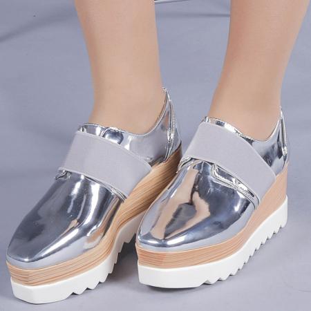 Pantofi casual dama Omana argintii0