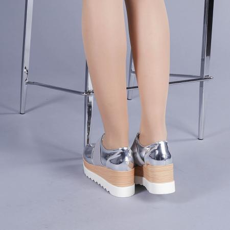 Pantofi casual dama Omana argintii3