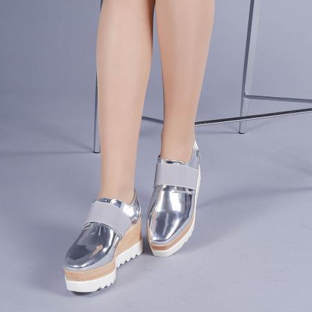 Pantofi casual dama Omana argintii2