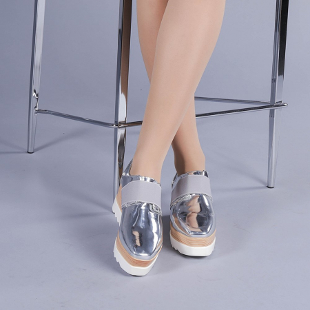 Pantofi casual dama Omana argintii1