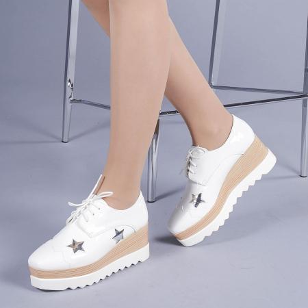 Pantofi casual dama Ramya albi2