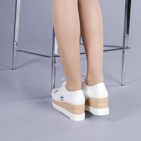 Pantofi casual dama Ramya albi3
