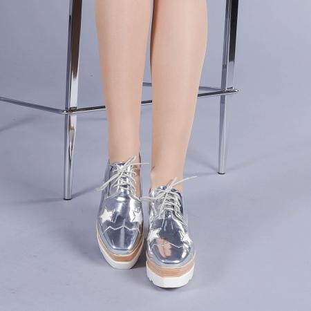 Pantofi casual dama Ramya argintii1