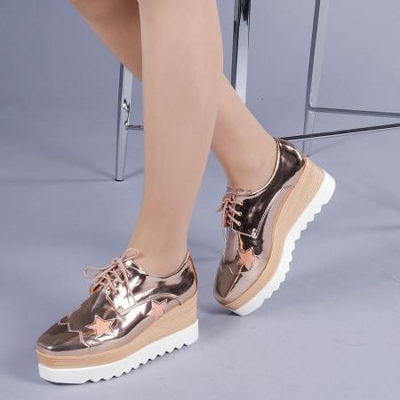 Pantofi casual dama Ramya champanie2
