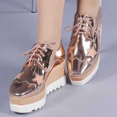 Pantofi casual dama Ramya champanie0
