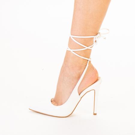 Pantofi dama Davina albi2