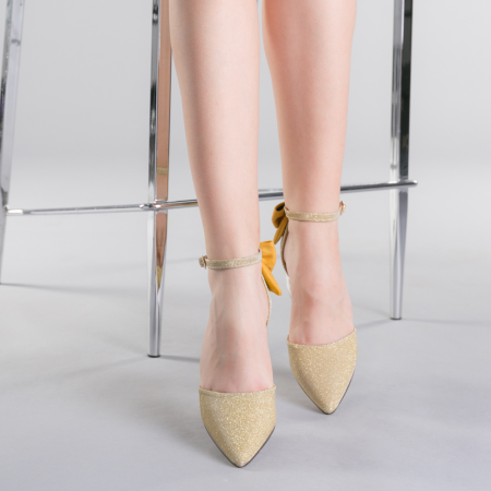 Pantofi dama Roxanne aurii1