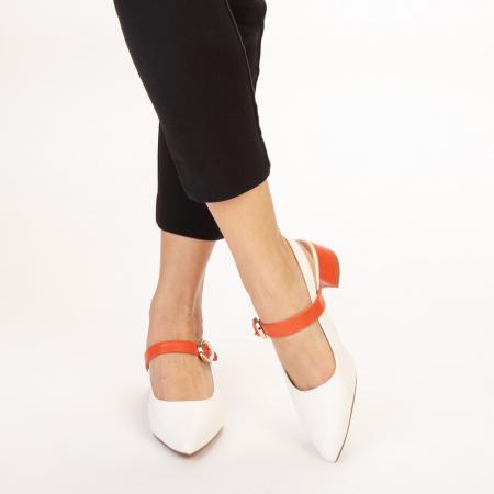 Pantofi dama Safar albi cu portocaliu1