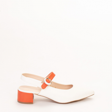 Pantofi dama Safar albi cu portocaliu0