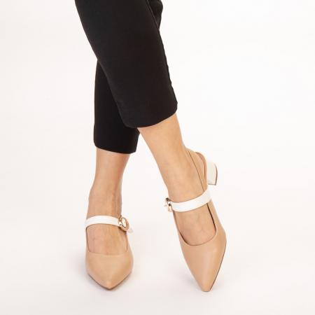 Pantofi dama Safar nude cu alb1