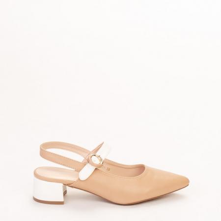Pantofi dama Safar nude cu alb0