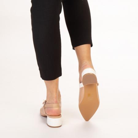 Pantofi dama Safar nude cu alb3