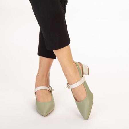 Pantofi dama Safar verzi cu alb1