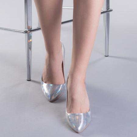Pantofi dama Tina argintii1