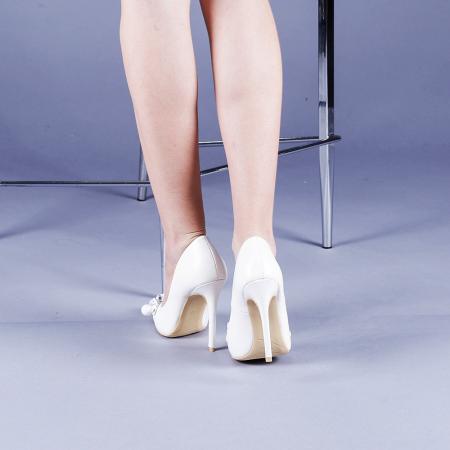 Pantofi dama Valentina albi3