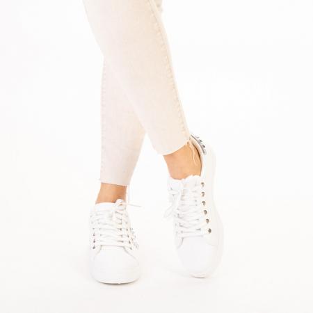 Pantofi sport dama Alys albi cu argintiu1