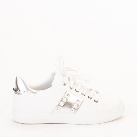 Pantofi sport dama Alys albi cu argintiu0