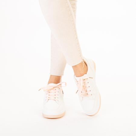 Pantofi sport dama Aren albi cu roz1